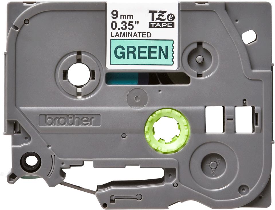 Eredeti Brother TZe-721 szalag – Zöld alapon fekete, 9mm széles