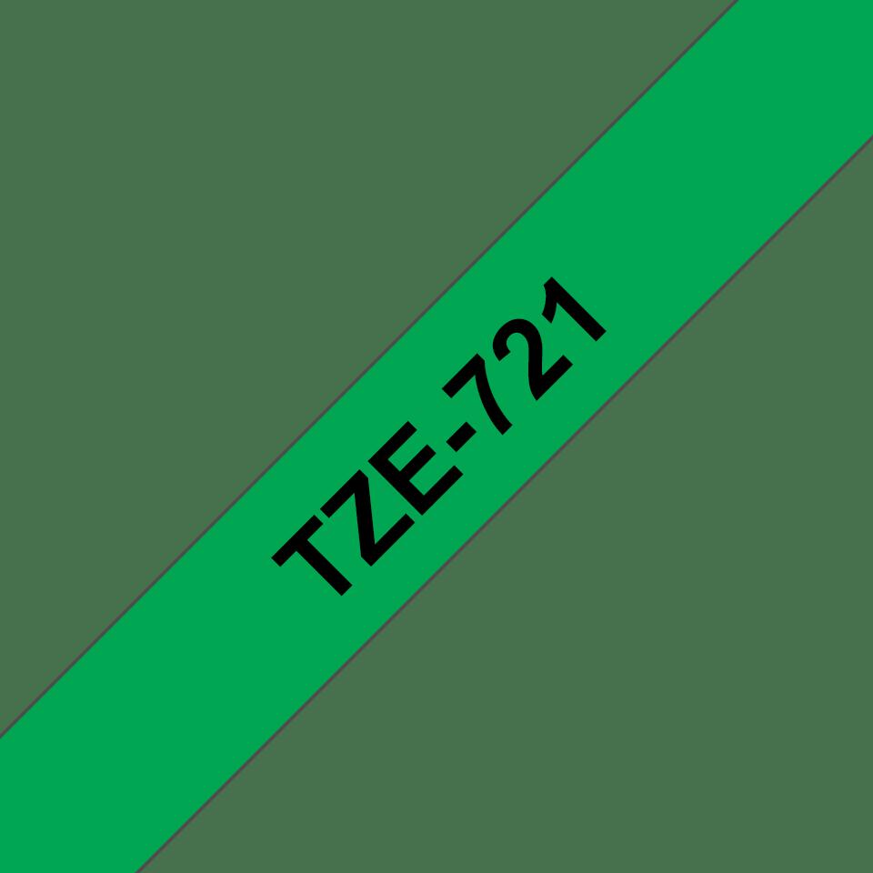 Eredeti Brother TZe-721 szalag – Zöld alapon fekete, 9mm széles 3