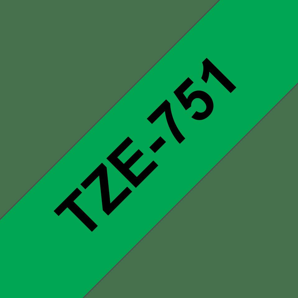 Eredeti Brother TZe-751 szalag  – Zöld alapon fekete, 24mm széles 3