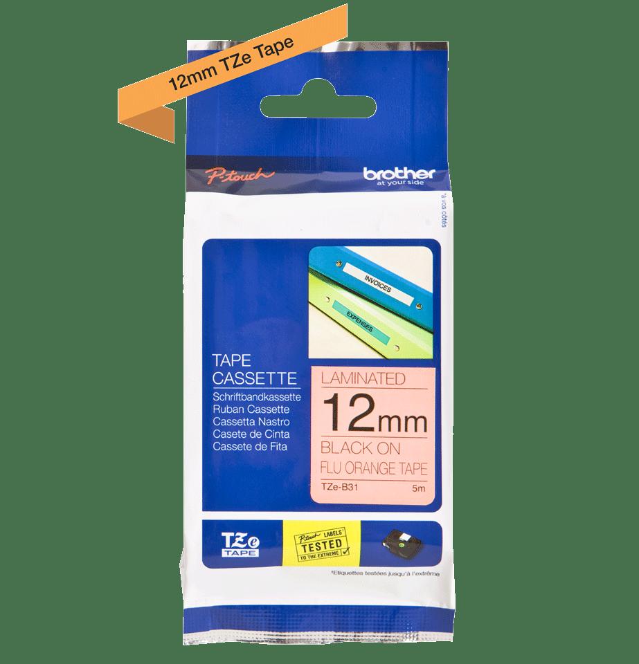 Eredeti Brother TZe-B31 szalag – Fluoreszkáló narancssárga , 12mm széles 2