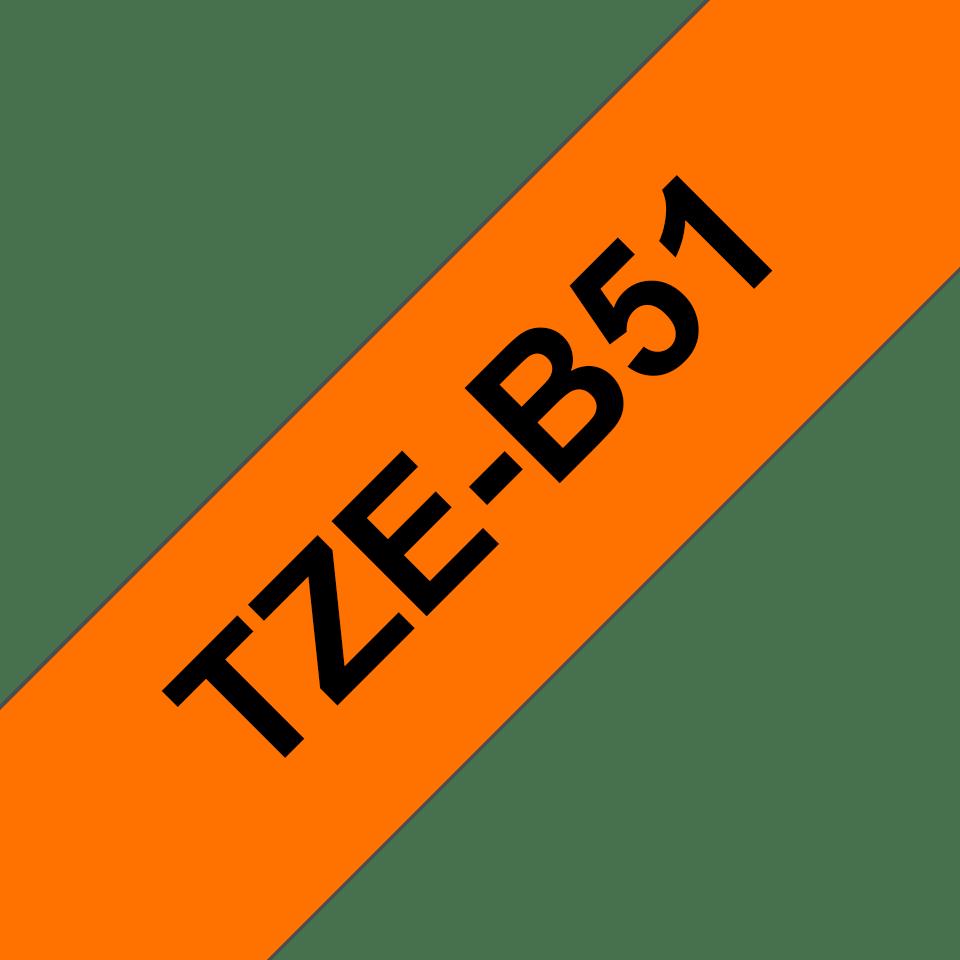 Eredeti Brother TZe-B51 szalag – Fluoreszkáló narancssárga, 24 mm széles 3