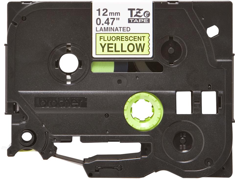 Eredeti Brother TZe-C31 szalag – Fluoreszkáló neon sárga, 12mm széles