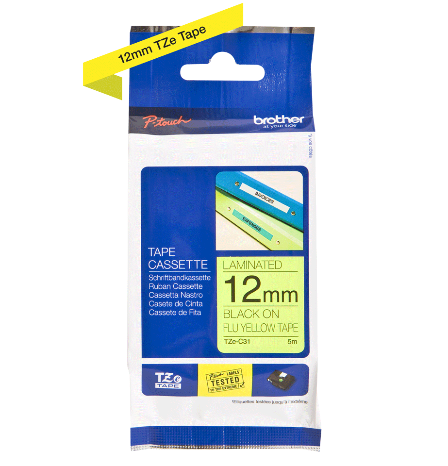 Eredeti Brother TZe-C31 szalag – Fluoreszkáló neon sárga, 12mm széles 2