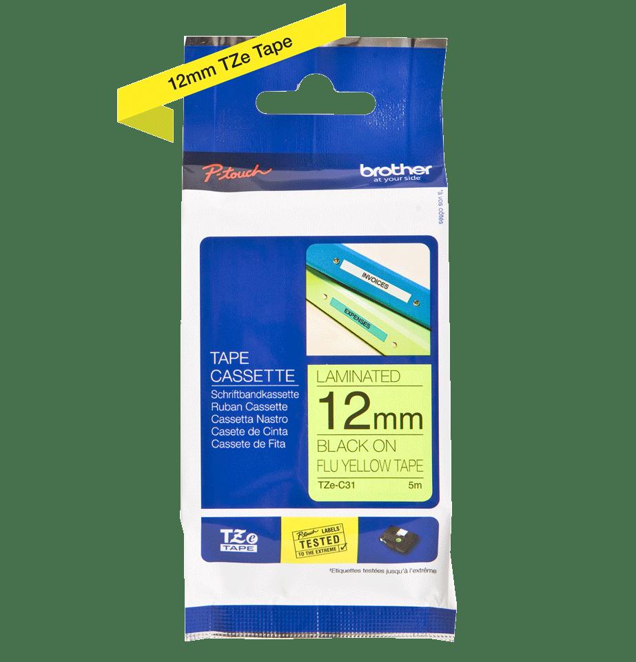 Eredeti Brother TZe-C31 szalag – Fluoreszkáló neon sárga, 12mm széles 3