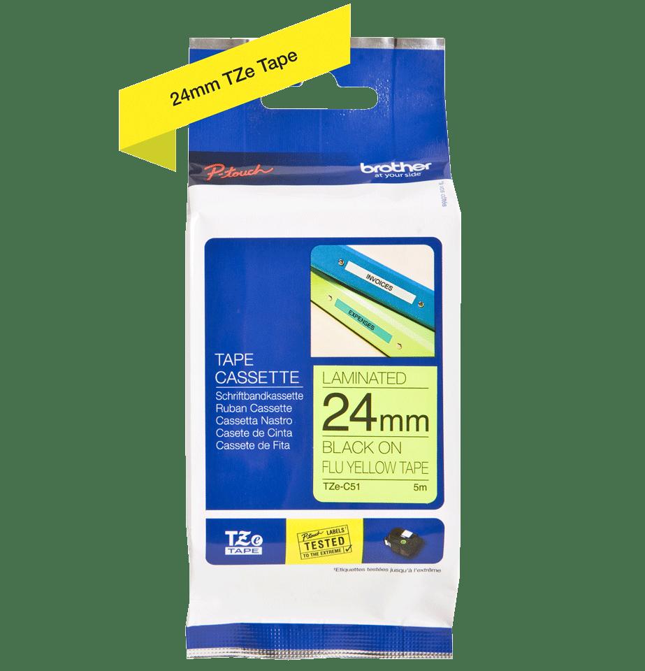 Eredeti Brother TZe-C51 szalag – Fluoreszkáló neon sárga , 24mm széles 2
