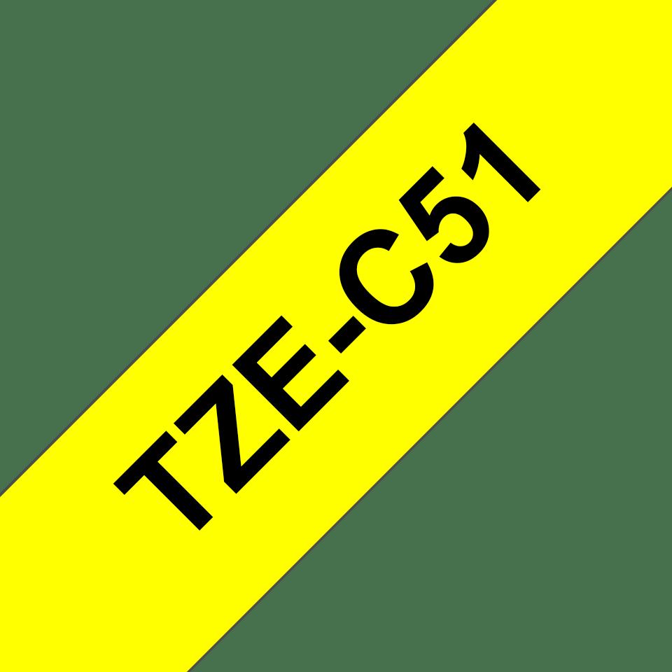 Eredeti Brother TZe-C51 szalag – Fluoreszkáló neon sárga , 24mm széles 3