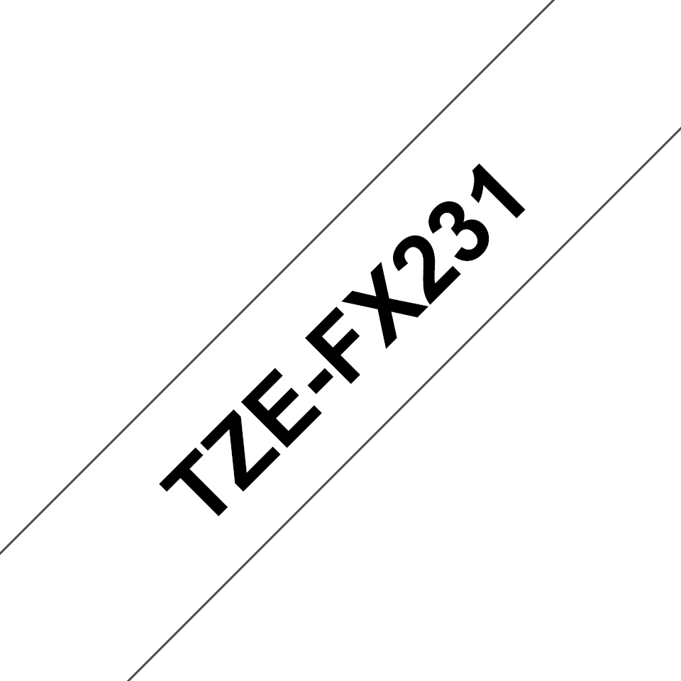 Genuine Brother TZe-FX231 Labelling Tape Cassette – Black on White, 12mm wide 3