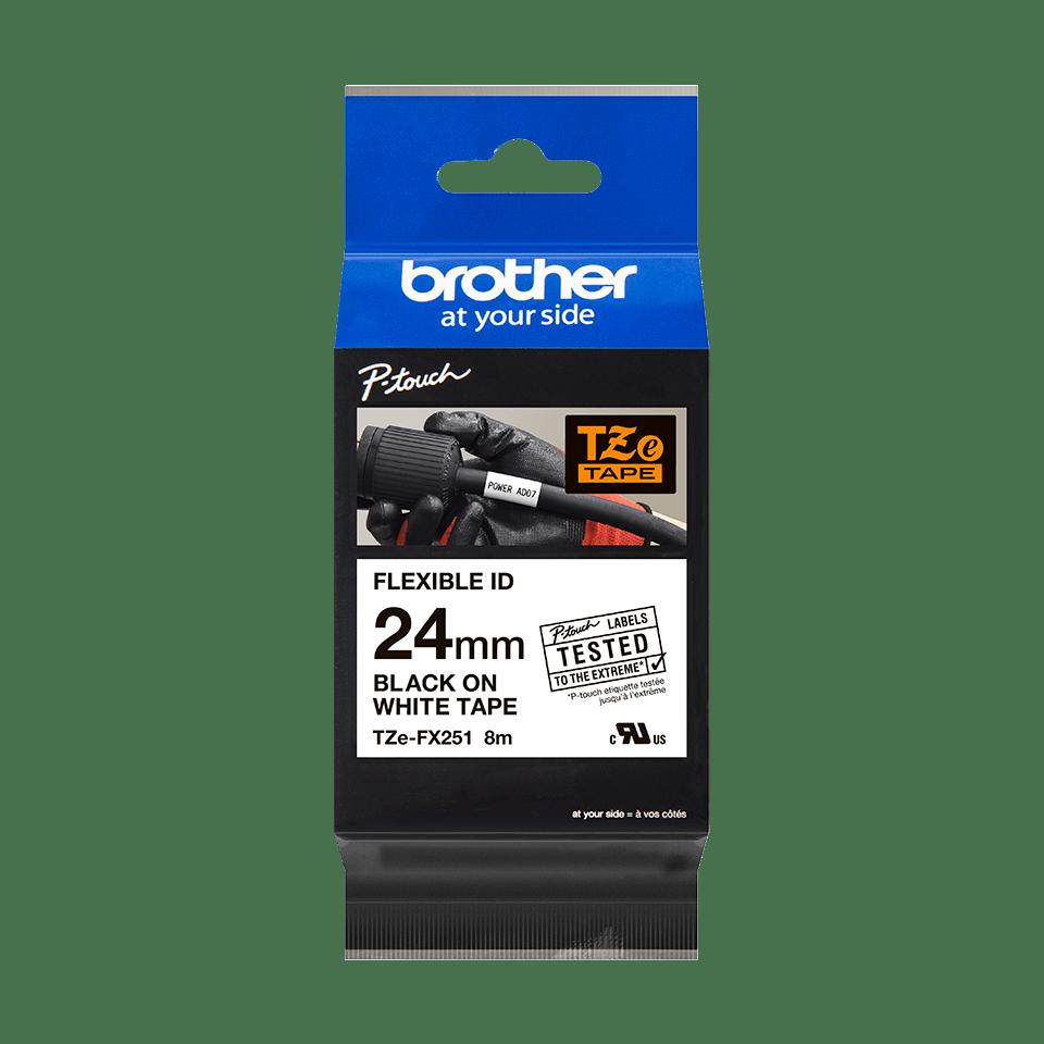 Eredeti Brother TZe-FX251 szalag fehér alapon fekete, 24mm széles 3