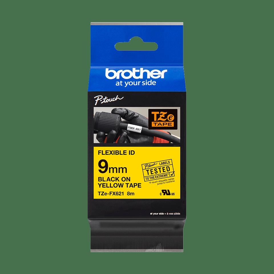 Eredeti Brother TZe-FX621 szalag sárga alapon fekete, 9mm széles 2
