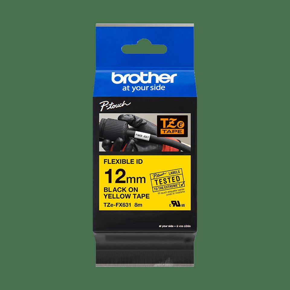 Eredeti Brother TZe-FX631 szalag sárga alapon fekete, 12mm széles 2