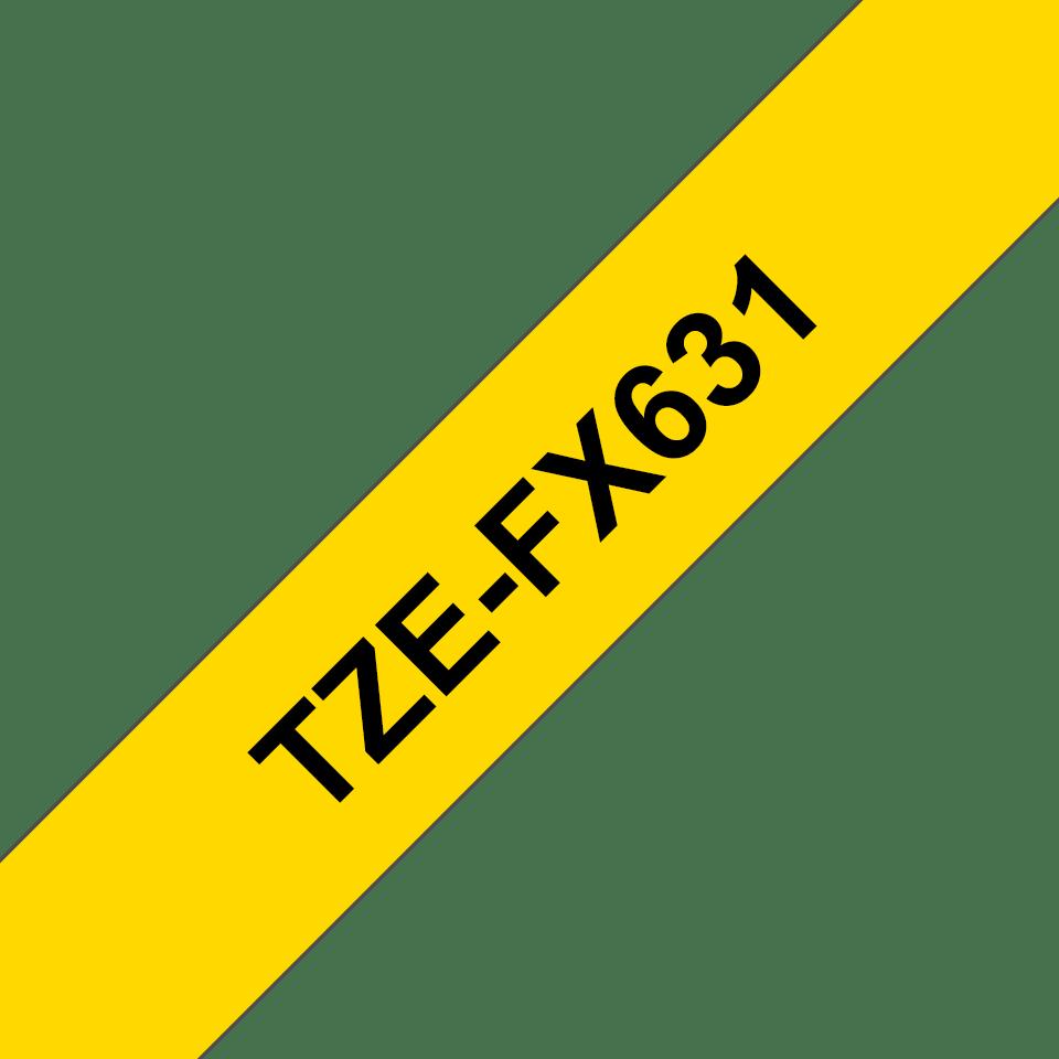 Eredeti Brother TZe-FX631 szalag sárga alapon fekete, 12mm széles 3