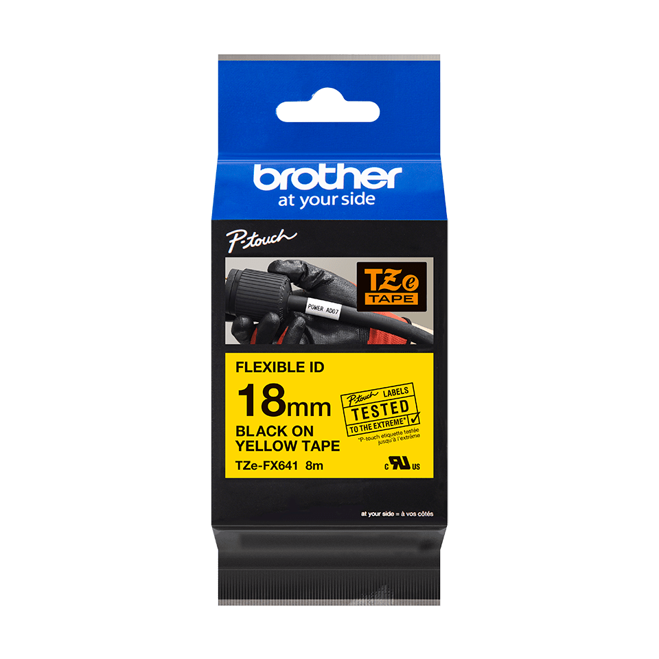Eredeti Brother TZe-FX641 szalag sárga alapon fekete, 18mm széles 2
