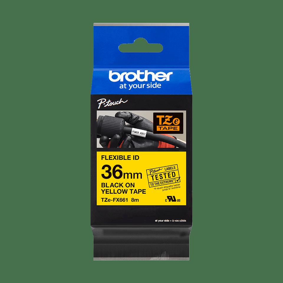 Eredeti Brother TZe-FX661 szalag sárga alapon fekete, 36mm széles 2