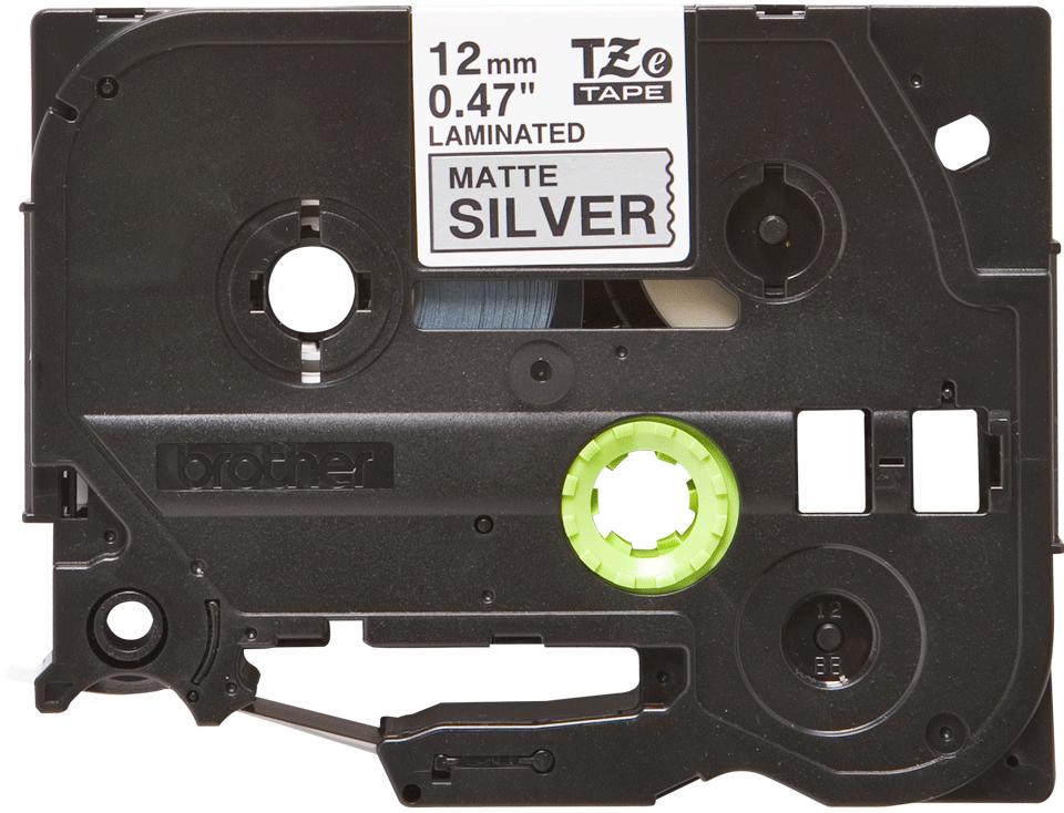Eredeti Brother TZe-M931 szalag matt ezüst alapon fekete, 12mm széles