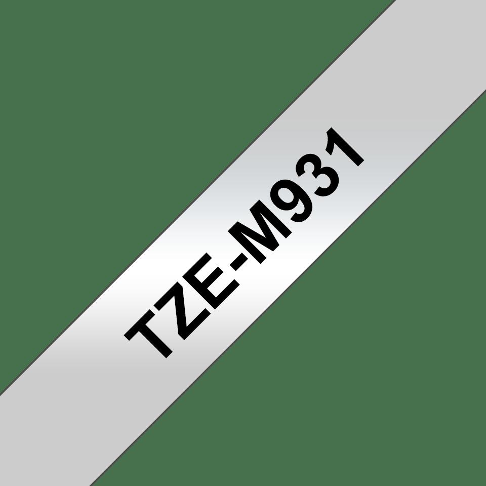 Eredeti Brother TZe-M931 szalag matt ezüst alapon fekete, 12mm széles 3