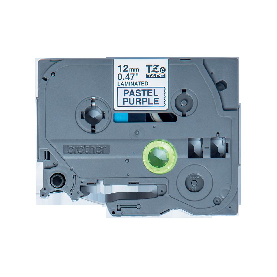 Eredeti Brother TZe-MQF31 szalag – Pasztell lila alapon fekete, 12 mm széles 2