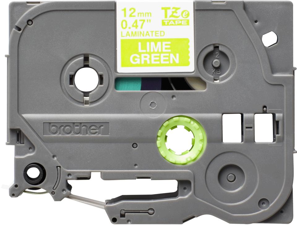 Eredeti Brother TZe-MQG35 laminált szalag – Lime zöld alapon fehér, 12mm széles 2