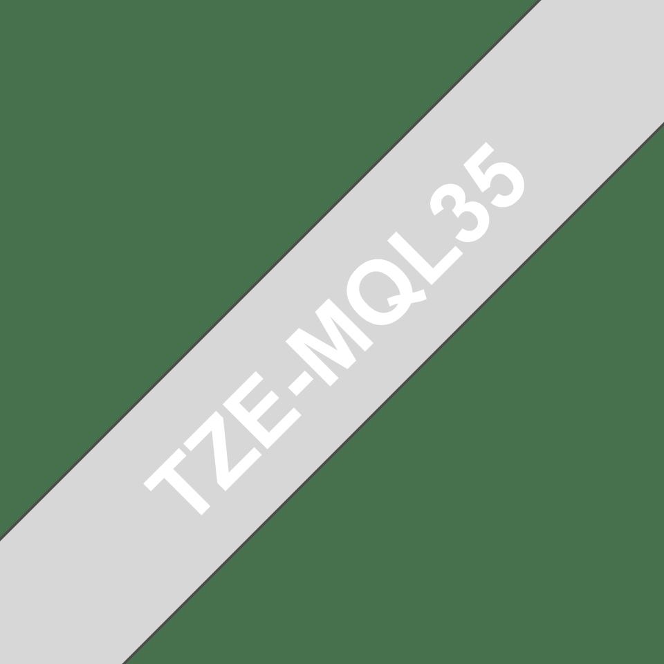 Eredeti Brother TZe-MQL35 szalag– Szürke alapon fehér, 12mm széles 3