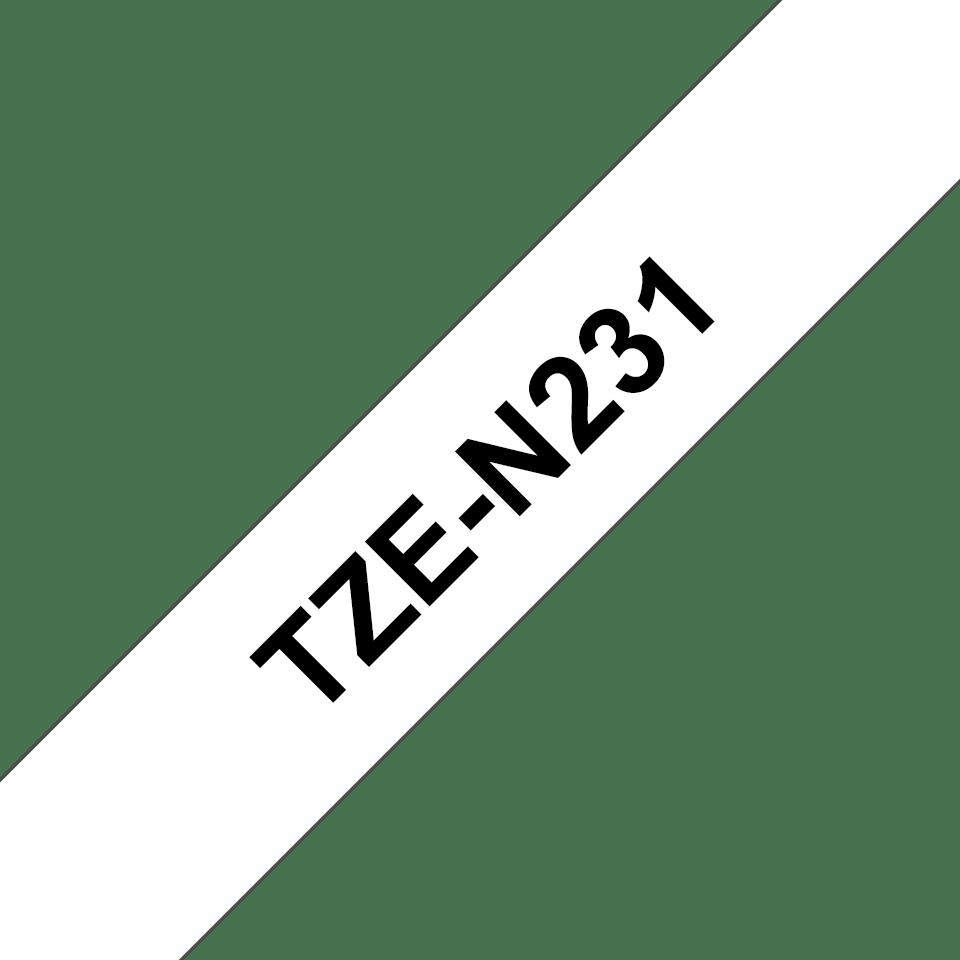 Eredeti Brother TZe-N231 nem laminált szalag – Fehér alapon fekete, 12mm széles 3