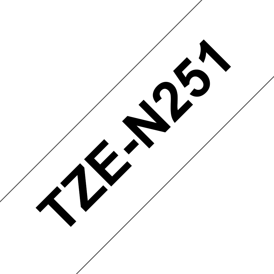 Eredeti Brother TZe-N251 nem laminált szalag – Fehér alapon fekete, 24mm széles 3