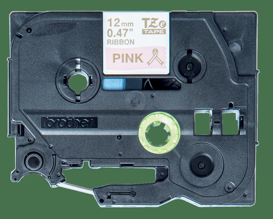Eerdeti Brother TZe-RE34 selyemszalag – Rózsaszín alapon arany, 12 mm széles 2