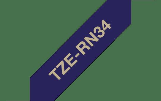 Eredeti Brother TZe-RN34 selyem  - Sötétkék alapon arany színű, 12 mm széles 3