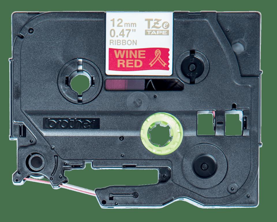 Eredeti Brother TZe-RW34 selyemszalag – Piros alapon arany színű, 12 mm széles
