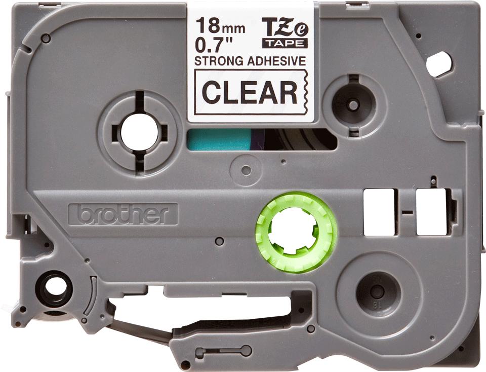 Eredeti Brother TZe-S141 szalag – Átlátszó alapon fekete, 18mm széles