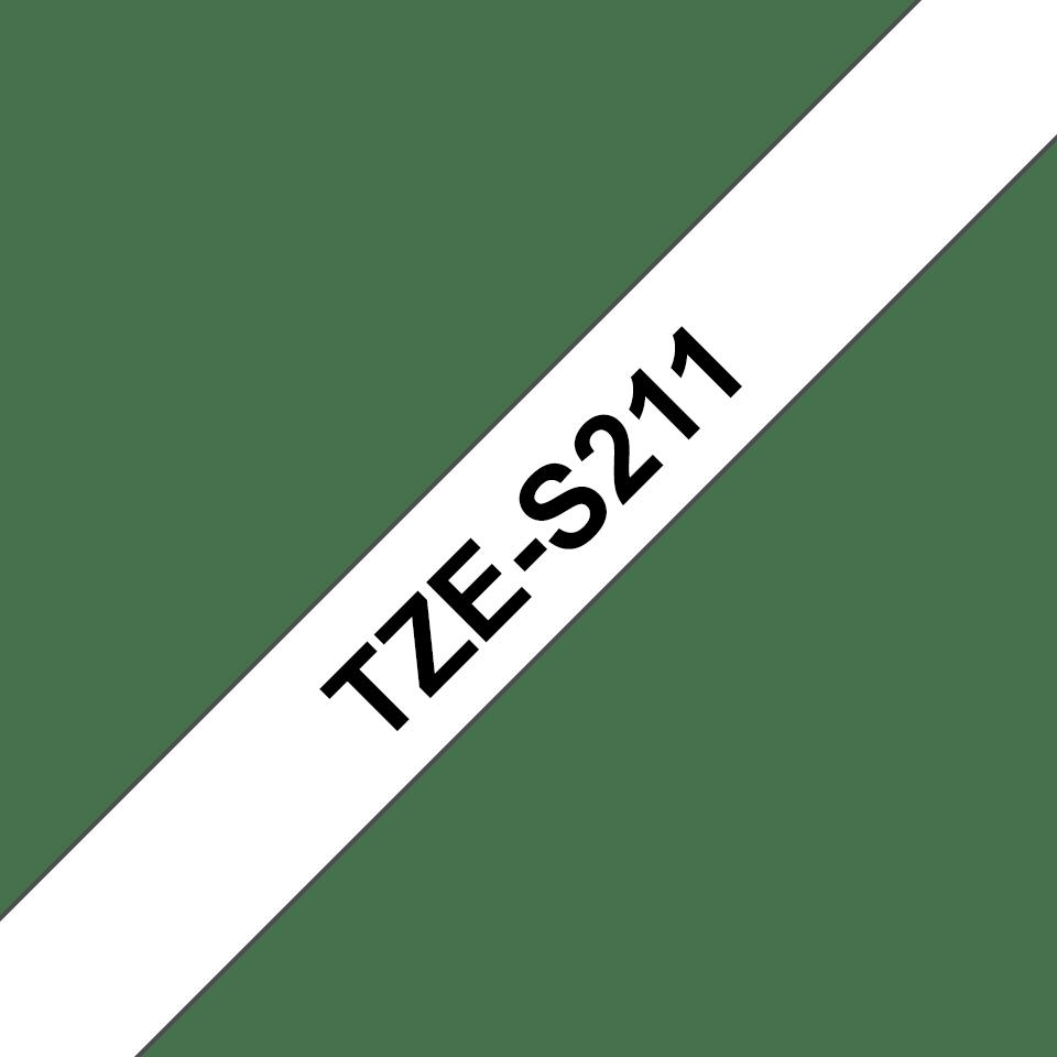 Eredeti Brother TZe-S211 szalag – Fehér alapon fekete, 6mm széles 3