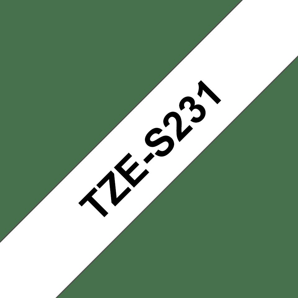 Eredeti Brother TZe-S231 szalag – Fehér alapon fekete, 12 mm széles 3