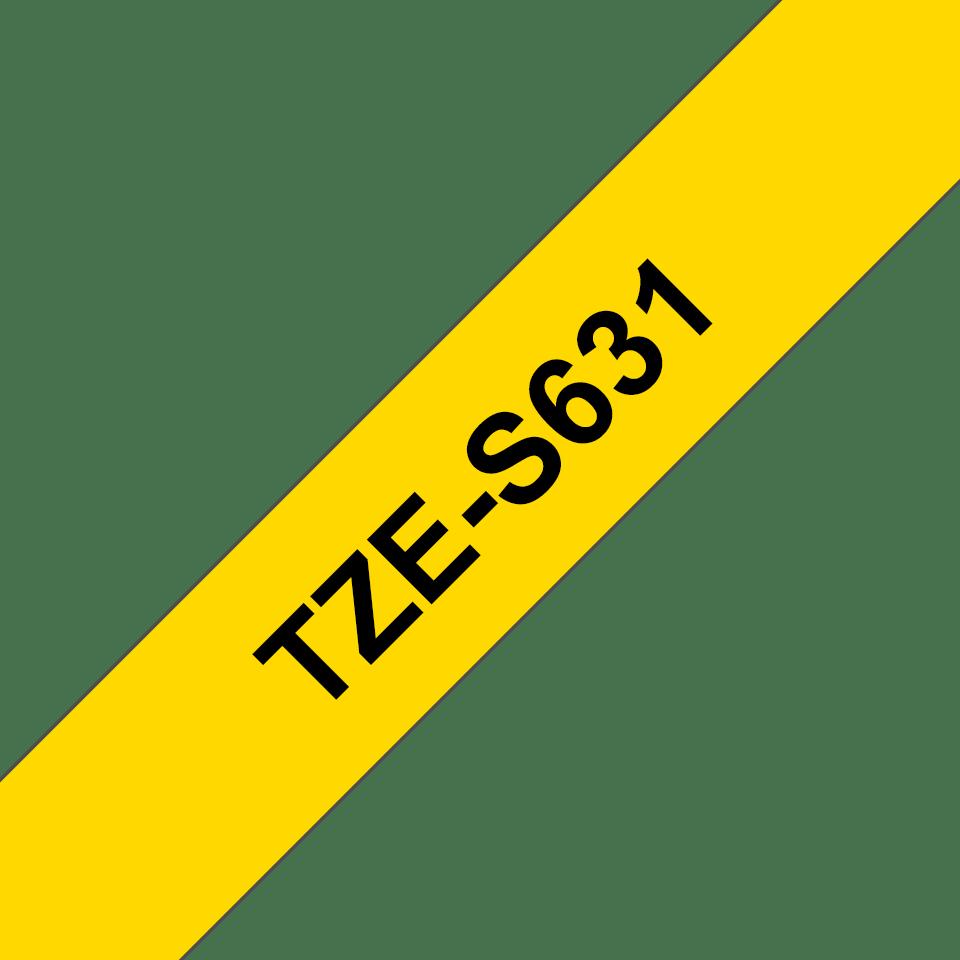 Eredeti Brother TZe-S631 P-touch sárga alapon fekete, 12mm széles 3