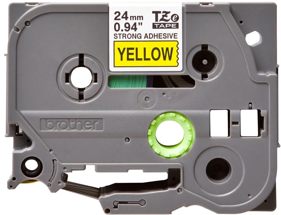 Eredeti Brother TZe-S651 P-touch - Sárga alapon fekete, 24mm széles szalag