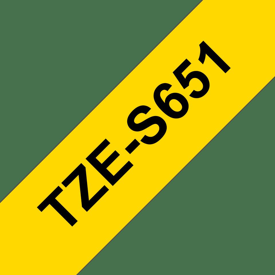 Eredeti Brother TZe-S651 P-touch - Sárga alapon fekete, 24mm széles szalag 3
